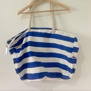 Handbags - Large Blue and White Striped Beach Bag